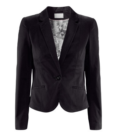 Jacket - pattern: plain; style: single breasted blazer; collar: standard lapel/rever collar; predominant colour: black; occasions: casual, evening, work, occasion; length: standard; fit: tailored/fitted; fibres: cotton - stretch; waist detail: fitted waist; sleeve length: long sleeve; sleeve style: standard; collar break: medium; pattern type: fabric; texture group: woven light midweight; season: s/s 2013