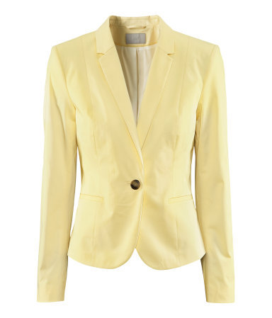 Jacket - pattern: plain; style: single breasted blazer; collar: standard lapel/rever collar; predominant colour: primrose yellow; occasions: casual, work, occasion; length: standard; fit: tailored/fitted; fibres: cotton - stretch; waist detail: fitted waist; sleeve length: long sleeve; sleeve style: standard; collar break: medium; pattern type: fabric; texture group: woven light midweight; season: s/s 2013