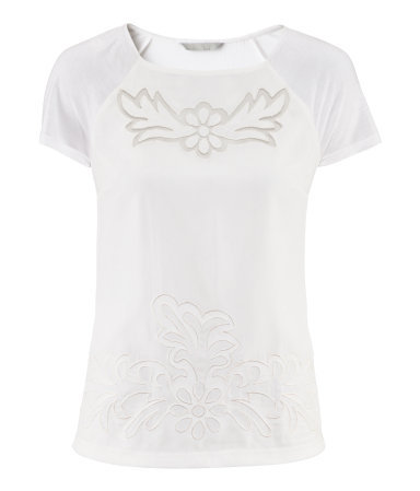 Top - neckline: round neck; bust detail: added detail/embellishment at bust; style: t-shirt; predominant colour: white; occasions: casual; length: standard; fibres: polyester/polyamide - 100%; fit: body skimming; sleeve length: short sleeve; sleeve style: standard; pattern type: fabric; pattern size: standard; texture group: jersey - stretchy/drapey; embellishment: embroidered; season: s/s 2013