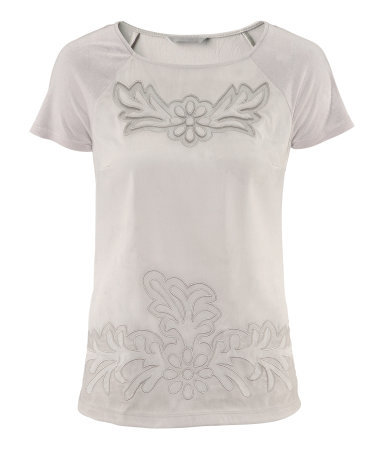 Top - neckline: round neck; bust detail: added detail/embellishment at bust; style: t-shirt; predominant colour: light grey; occasions: casual, evening; length: standard; fibres: polyester/polyamide - 100%; fit: body skimming; sleeve length: short sleeve; sleeve style: standard; pattern type: fabric; pattern size: standard; pattern: patterned/print; texture group: jersey - stretchy/drapey; season: s/s 2013