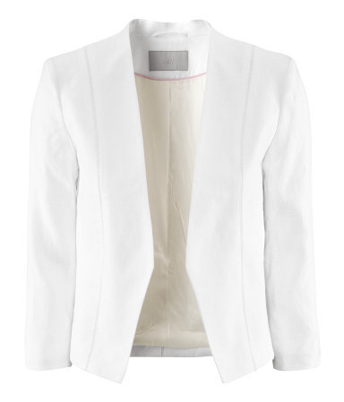 Jacket - pattern: plain; style: single breasted blazer; collar: standard lapel/rever collar; predominant colour: white; occasions: casual, evening, work, occasion; length: standard; fit: tailored/fitted; fibres: linen - 100%; sleeve length: 3/4 length; sleeve style: standard; collar break: low/open; pattern type: fabric; pattern size: standard; texture group: woven light midweight; season: s/s 2013
