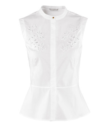 Blouse - sleeve style: sleeveless; style: blouse; waist detail: peplum waist detail; predominant colour: white; occasions: casual, work; length: standard; neckline: scoop; fibres: cotton - stretch; fit: body skimming; sleeve length: sleeveless; texture group: cotton feel fabrics; pattern type: fabric; pattern size: standard; embellishment: embroidered; season: s/s 2013