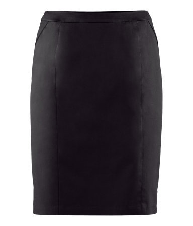 Pencil Skirt - pattern: plain; style: pencil; fit: tailored/fitted; hip detail: fitted at hip; waist: mid/regular rise; predominant colour: black; occasions: casual, evening, work; length: just above the knee; fibres: cotton - stretch; pattern type: fabric; texture group: other - stretchy; season: s/s 2013