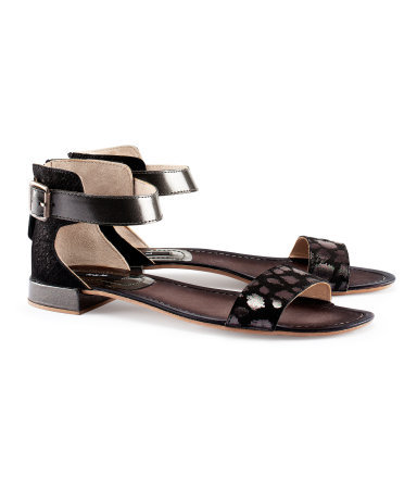 Leather Sandals - predominant colour: black; occasions: casual, holiday; material: suede; heel height: flat; ankle detail: ankle strap; heel: block; toe: open toe/peeptoe; style: standard; finish: plain; pattern: patterned/print; season: s/s 2013