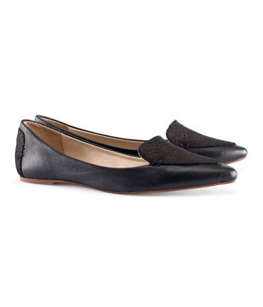 Leather Loafers - predominant colour: black; occasions: casual, work; material: leather; heel height: flat; toe: pointed toe; style: loafers; finish: plain; pattern: plain; season: s/s 2013