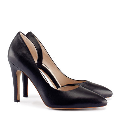 Leather Court Shoes - predominant colour: black; occasions: evening, work, occasion; material: leather; heel height: high; heel: stiletto; toe: pointed toe; style: courts; finish: plain; pattern: plain; season: s/s 2013