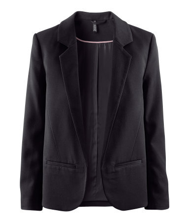 Jacket - pattern: plain; style: single breasted blazer; collar: standard lapel/rever collar; predominant colour: black; occasions: casual, evening, work, occasion; length: standard; fit: straight cut (boxy); fibres: polyester/polyamide - stretch; sleeve length: long sleeve; sleeve style: standard; trends: tuxedo; collar break: low/open; pattern type: fabric; pattern size: standard; texture group: woven light midweight; season: s/s 2013