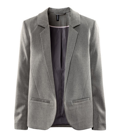 Jacket - pattern: plain; style: single breasted blazer; collar: standard lapel/rever collar; predominant colour: mid grey; occasions: casual, work; length: standard; fit: straight cut (boxy); fibres: polyester/polyamide - mix; sleeve length: long sleeve; sleeve style: standard; collar break: low/open; pattern type: fabric; pattern size: standard; texture group: woven light midweight; season: s/s 2013