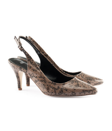 Slingbacks - predominant colour: camel; occasions: evening, work, occasion; material: faux leather; heel height: high; heel: stiletto; toe: pointed toe; style: slingbacks; finish: patent; pattern: animal print; season: s/s 2013