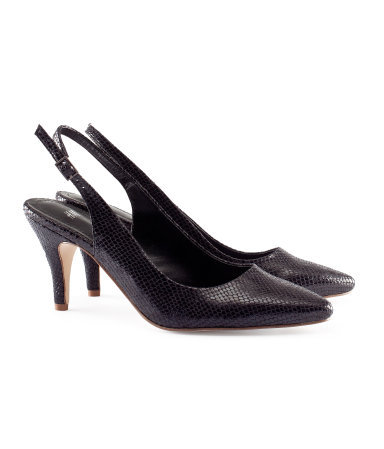 Slingbacks - predominant colour: black; occasions: evening, work, occasion; material: faux leather; heel height: high; ankle detail: ankle strap; heel: stiletto; toe: pointed toe; style: slingbacks; finish: patent; pattern: animal print; season: s/s 2013