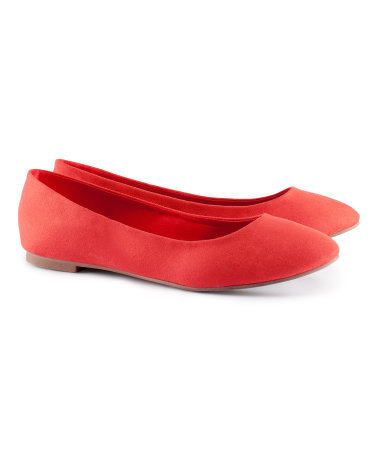 Ballet Pumps - predominant colour: bright orange; occasions: casual, work; material: faux leather; heel height: flat; toe: round toe; style: ballerinas / pumps; finish: plain; pattern: plain; season: s/s 2013