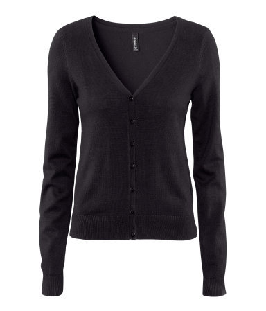 Cardigan - neckline: low v-neck; pattern: plain; bust detail: buttons at bust (in middle at breastbone)/zip detail at bust; predominant colour: black; occasions: casual, work; length: standard; style: standard; fibres: cotton - mix; fit: standard fit; sleeve length: long sleeve; sleeve style: standard; texture group: knits/crochet; pattern type: knitted - fine stitch; pattern size: standard; season: s/s 2013