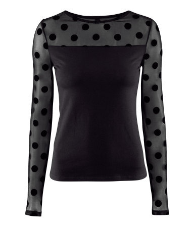 Top - neckline: round neck; pattern: polka dot; shoulder detail: contrast pattern/fabric at shoulder; predominant colour: black; occasions: casual, evening; length: standard; style: top; fibres: viscose/rayon - stretch; fit: body skimming; sleeve length: long sleeve; sleeve style: standard; pattern type: fabric; pattern size: standard; texture group: jersey - stretchy/drapey; season: s/s 2013