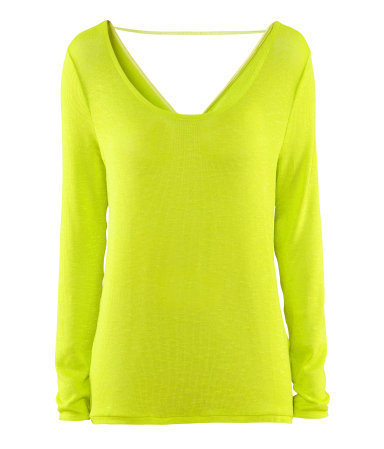 Jumper - neckline: low v-neck; pattern: plain; back detail: cowl/draping/scoop at back; style: standard; predominant colour: lime; occasions: casual, evening; length: standard; fibres: polyester/polyamide - stretch; fit: standard fit; sleeve length: long sleeve; sleeve style: standard; texture group: knits/crochet; trends: fluorescent; pattern type: knitted - fine stitch; season: s/s 2013