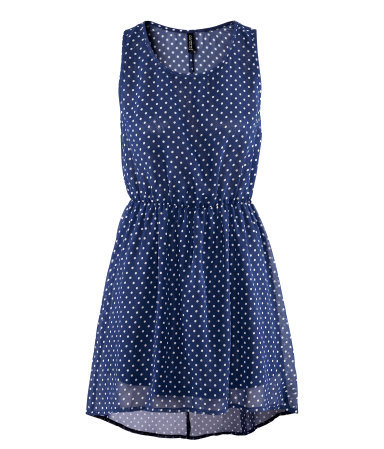 Dress - style: shift; length: mid thigh; neckline: round neck; fit: fitted at waist; sleeve style: sleeveless; waist detail: elasticated waist; pattern: polka dot; predominant colour: navy; occasions: casual, evening; fibres: polyester/polyamide - 100%; sleeve length: sleeveless; texture group: sheer fabrics/chiffon/organza etc.; pattern type: fabric; pattern size: light/subtle; season: s/s 2013