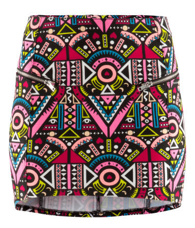 Skirt - length: mini; fit: tight; waist: mid/regular rise; predominant colour: pink; occasions: casual, evening; style: mini skirt; fibres: cotton - stretch; trends: modern geometrics; pattern type: fabric; pattern: patterned/print; texture group: jersey - stretchy/drapey; season: s/s 2013; pattern size: big & busy (bottom)