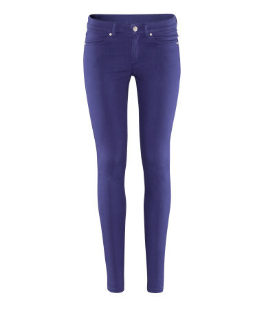 Trousers - length: standard; pattern: plain; pocket detail: traditional 5 pocket; waist: mid/regular rise; predominant colour: royal blue; occasions: casual, evening, holiday; fibres: cotton - stretch; waist detail: narrow waistband; texture group: cotton feel fabrics; fit: skinny/tight leg; pattern type: fabric; style: standard; season: s/s 2013; pattern size: standard (bottom)