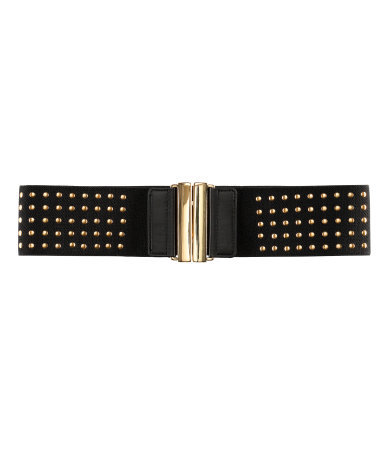 Belt - predominant colour: black; occasions: casual, evening, work; type of pattern: small; embellishment: studs; style: elasticated; size: wide; worn on: waist; material: fabric; pattern: plain; finish: plain; season: s/s 2013