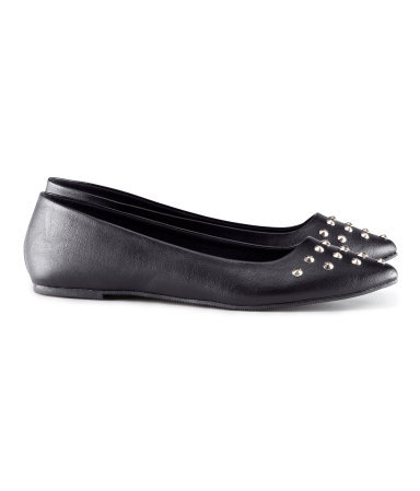 Ballet Pumps - predominant colour: black; occasions: casual, evening, work; material: faux leather; heel height: flat; embellishment: studs; toe: pointed toe; style: ballerinas / pumps; finish: plain; pattern: plain; season: s/s 2013