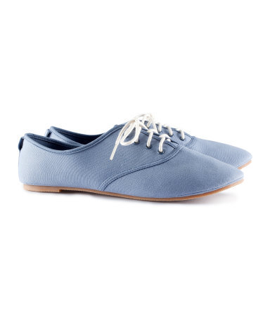 Shoes - predominant colour: pale blue; occasions: casual, work; material: fabric; heel height: flat; toe: round toe; finish: plain; pattern: plain; style: lace ups; season: s/s 2013