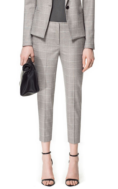 Checked Skinny Trousers - pattern: checked/gingham; waist: mid/regular rise; predominant colour: light grey; occasions: work; length: ankle length; fibres: polyester/polyamide - mix; fit: tapered; pattern type: fabric; texture group: woven light midweight; season: s/s 2013; pattern size: standard (bottom)