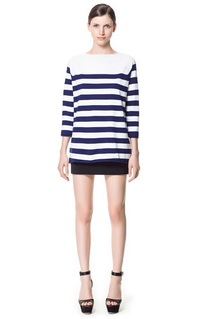 Wide Stripe Sweater - neckline: slash/boat neckline; pattern: horizontal stripes; style: standard; predominant colour: navy; occasions: casual, work; length: standard; fibres: cotton - mix; fit: standard fit; back detail: longer hem at back than at front; sleeve length: 3/4 length; sleeve style: standard; texture group: knits/crochet; pattern type: fabric; pattern size: standard; season: s/s 2013