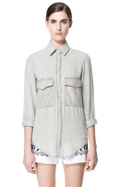 Faded Shirt - neckline: shirt collar/peter pan/zip with opening; pattern: plain; length: below the bottom; style: shirt; bust detail: pocket detail at bust; predominant colour: light grey; occasions: casual, work; fibres: polyester/polyamide - 100%; fit: straight cut; sleeve length: long sleeve; sleeve style: standard; texture group: denim; pattern type: fabric; pattern size: standard; season: s/s 2013