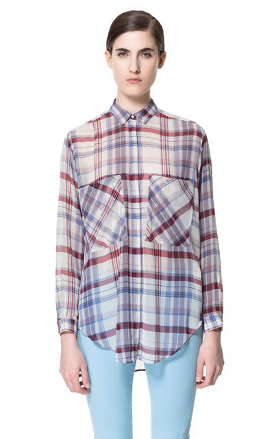 Checked Shirt - neckline: shirt collar/peter pan/zip with opening; pattern: checked/gingham; length: below the bottom; style: shirt; occasions: casual, evening, work; fibres: polyester/polyamide - 100%; fit: loose; predominant colour: multicoloured; sleeve length: long sleeve; sleeve style: standard; texture group: sheer fabrics/chiffon/organza etc.; pattern type: fabric; pattern size: standard; season: s/s 2013; multicoloured: multicoloured