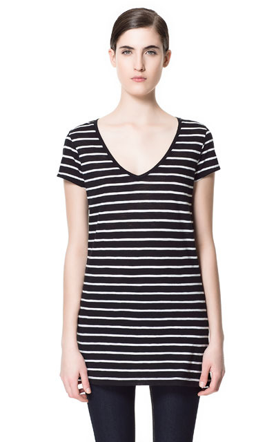 Basic Striped V Neck T Shirt - neckline: v-neck; sleeve style: capped; pattern: horizontal stripes; length: below the bottom; style: t-shirt; predominant colour: black; occasions: casual; fibres: cotton - 100%; fit: body skimming; sleeve length: short sleeve; pattern type: fabric; pattern size: standard; texture group: jersey - stretchy/drapey; season: s/s 2013