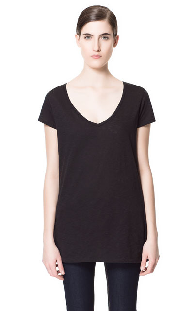 Basic Striped V Neck T Shirt - neckline: low v-neck; pattern: plain; length: below the bottom; style: t-shirt; predominant colour: black; occasions: casual; fibres: cotton - 100%; fit: body skimming; sleeve length: short sleeve; sleeve style: standard; pattern type: fabric; pattern size: standard; texture group: jersey - stretchy/drapey; season: s/s 2013