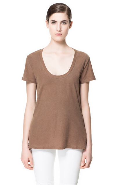 Basic Cotton T Shirt - pattern: plain; length: below the bottom; style: t-shirt; predominant colour: tan; occasions: casual; neckline: scoop; fibres: cotton - 100%; fit: body skimming; back detail: longer hem at back than at front; sleeve length: short sleeve; sleeve style: standard; pattern type: fabric; pattern size: standard; texture group: jersey - stretchy/drapey; season: s/s 2013