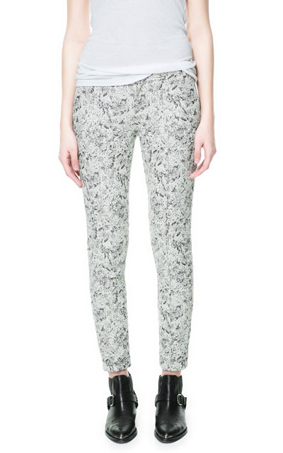 Jacquard Trousers With Metallic Thread - length: standard; pocket detail: pockets at the sides; waist: mid/regular rise; predominant colour: light grey; occasions: casual; fibres: polyester/polyamide - mix; texture group: ornate wovens; trends: statement prints; fit: slim leg; pattern type: fabric; pattern: florals; style: standard; season: s/s 2013; pattern size: light/subtle (bottom)