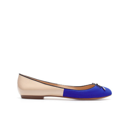 Two Tone Ballerina - predominant colour: royal blue; occasions: casual, work; material: fabric; heel height: flat; toe: round toe; style: ballerinas / pumps; finish: plain; pattern: colourblock; season: s/s 2013