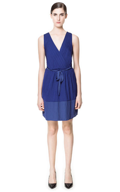 Crossover Dress - style: faux wrap/wrap; neckline: low v-neck; fit: fitted at waist; pattern: plain; sleeve style: sleeveless; waist detail: belted waist/tie at waist/drawstring; bust detail: subtle bust detail; predominant colour: royal blue; occasions: casual, evening; length: just above the knee; fibres: polyester/polyamide - 100%; hip detail: subtle/flattering hip detail; sleeve length: sleeveless; texture group: sheer fabrics/chiffon/organza etc.; pattern type: fabric; season: s/s 2013; wardrobe: highlight