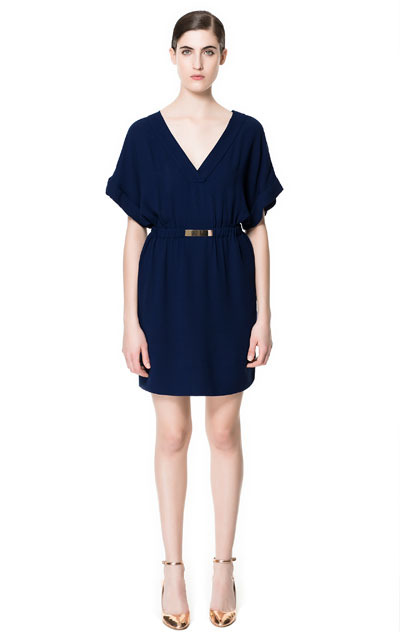 Dress With AppliquÉ - style: faux wrap/wrap; neckline: v-neck; fit: fitted at waist; pattern: plain; waist detail: belted waist/tie at waist/drawstring; predominant colour: navy; occasions: casual, evening; length: just above the knee; fibres: polyester/polyamide - 100%; sleeve length: short sleeve; sleeve style: standard; pattern type: fabric; texture group: jersey - stretchy/drapey; season: s/s 2013