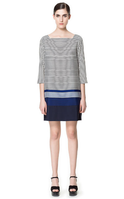 Printed Striped Tunic - style: tunic; neckline: high square neck; fit: loose; pattern: horizontal stripes; predominant colour: light grey; occasions: casual, work, occasion; length: just above the knee; fibres: polyester/polyamide - 100%; sleeve length: 3/4 length; sleeve style: standard; texture group: silky - light; pattern type: fabric; pattern size: standard; season: s/s 2013