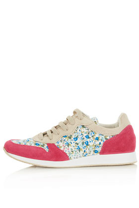 Tuscany Floral Print Runners - predominant colour: hot pink; occasions: casual; material: suede; heel height: flat; toe: round toe; style: trainers; finish: plain; pattern: florals; season: s/s 2013