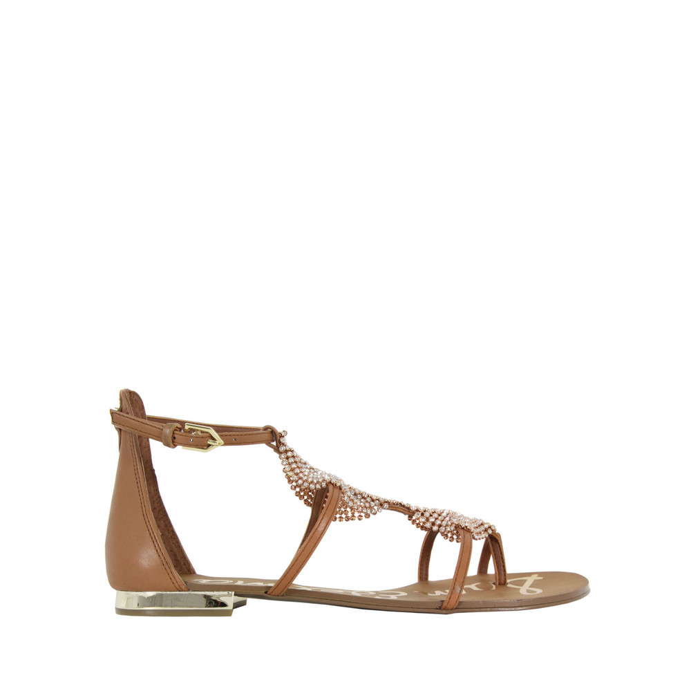 Tyra Saddle Sandals - predominant colour: tan; occasions: casual, holiday; material: leather; heel height: flat; embellishment: crystals/glass; ankle detail: ankle strap; heel: standard; toe: toe thongs; style: gladiators; finish: plain; pattern: plain; season: s/s 2013
