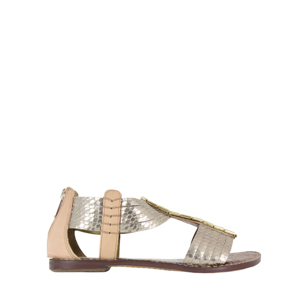 Gatsby Light Gold Metal Sandals - occasions: casual, holiday; predominant colour: multicoloured; material: leather; heel height: flat; embellishment: beading; ankle detail: ankle strap; heel: standard; toe: open toe/peeptoe; style: gladiators; trends: metallics; finish: metallic; pattern: colourblock; season: s/s 2013; multicoloured: multicoloured