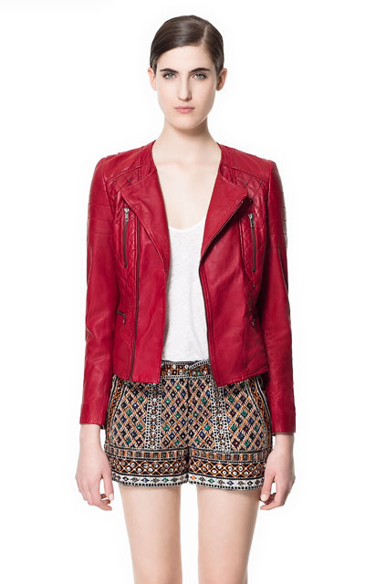 Leather Jacket With Studs - pattern: plain; style: biker; collar: asymmetric biker; fit: slim fit; predominant colour: true red; occasions: casual, evening; length: standard; fibres: leather - 100%; sleeve length: long sleeve; sleeve style: standard; texture group: leather; collar break: medium; pattern type: fabric; pattern size: standard; season: s/s 2013