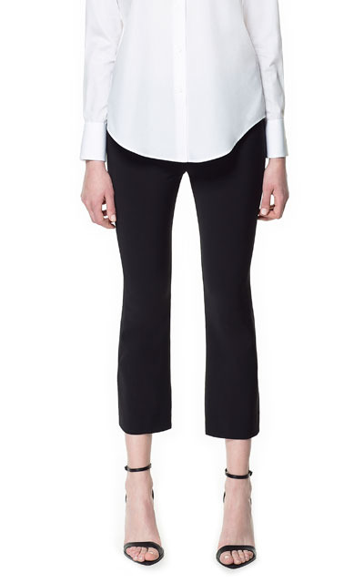Studio Cropped Trousers - pattern: plain; pocket detail: small back pockets, pockets at the sides; waist: mid/regular rise; predominant colour: black; occasions: casual, evening, work; length: calf length; fibres: viscose/rayon - stretch; texture group: crepes; fit: slim leg; pattern type: fabric; style: standard; season: s/s 2013; pattern size: standard (bottom)