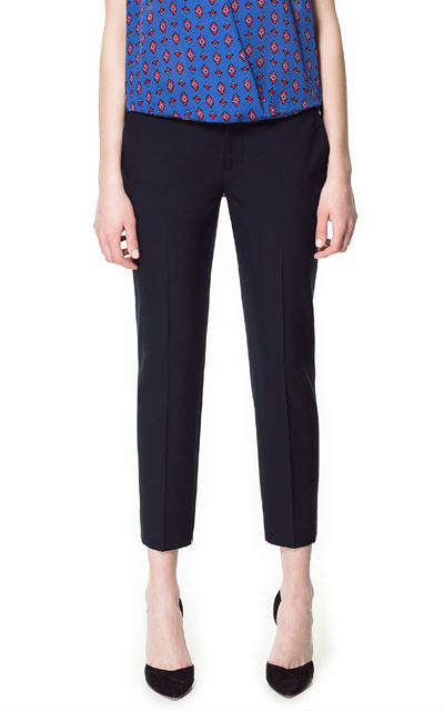 Cropped Trousers - pattern: plain; pocket detail: small back pockets, pockets at the sides; waist: mid/regular rise; predominant colour: black; occasions: casual, evening, work; length: ankle length; fibres: polyester/polyamide - mix; hip detail: front pleats at hip level; texture group: crepes; fit: slim leg; pattern type: fabric; style: standard; season: s/s 2013; pattern size: standard (bottom)