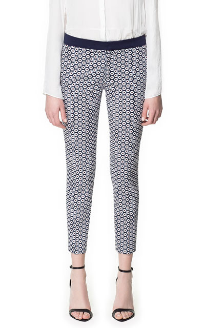 Printed Trousers With Contrasting Waistband - pocket detail: small back pockets, pockets at the sides; waist: mid/regular rise; predominant colour: navy; occasions: casual, evening, work; length: ankle length; fibres: cotton - stretch; waist detail: feature waist detail; texture group: ornate wovens; trends: statement prints; fit: slim leg; pattern type: fabric; pattern: patterned/print; style: standard; season: s/s 2013; pattern size: standard (bottom)