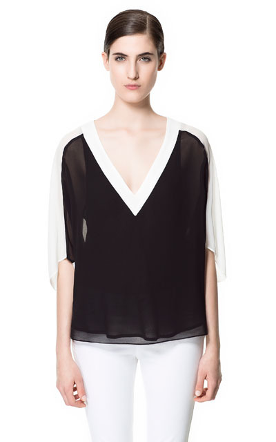 Combined Blouse - neckline: low v-neck; pattern: plain, colourblock; style: blouse; shoulder detail: contrast pattern/fabric at shoulder; back detail: contrast pattern/fabric at back; predominant colour: black; occasions: casual, evening, work, occasion; length: standard; fibres: polyester/polyamide - 100%; fit: loose; sleeve length: 3/4 length; sleeve style: standard; texture group: sheer fabrics/chiffon/organza etc.; pattern type: fabric; pattern size: standard; season: s/s 2013