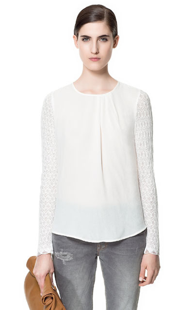 Lace Blouse - neckline: round neck; style: blouse; shoulder detail: contrast pattern/fabric at shoulder; bust detail: ruching/gathering/draping/layers/pintuck pleats at bust; predominant colour: ivory/cream; occasions: casual, evening, work; length: standard; fibres: polyester/polyamide - 100%; fit: straight cut; sleeve length: long sleeve; sleeve style: standard; texture group: lace; pattern type: fabric; pattern size: standard; pattern: patterned/print; season: s/s 2013
