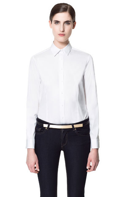Basic Cotton Shirt - neckline: shirt collar/peter pan/zip with opening; pattern: plain; style: shirt; predominant colour: white; occasions: casual, work; length: standard; fibres: cotton - mix; fit: straight cut; sleeve length: long sleeve; sleeve style: standard; texture group: cotton feel fabrics; pattern type: fabric; pattern size: standard; season: s/s 2013