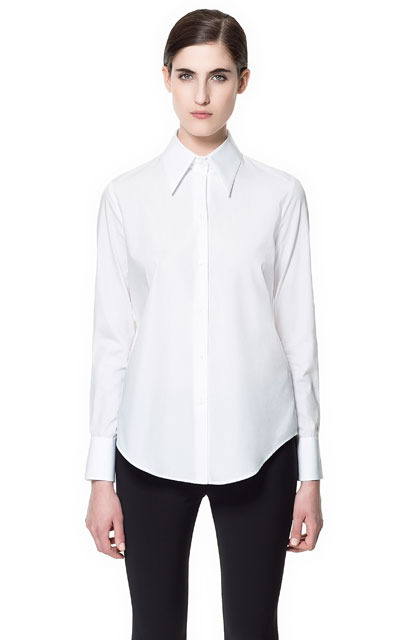 Poplin Shirt - neckline: shirt collar/peter pan/zip with opening; pattern: plain; style: shirt; predominant colour: white; occasions: casual, work; length: standard; fibres: cotton - 100%; fit: straight cut; sleeve length: long sleeve; sleeve style: standard; texture group: cotton feel fabrics; pattern type: fabric; pattern size: standard; season: s/s 2013