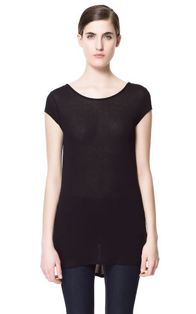 T Shirt With Asymmetric Hem - neckline: round neck; sleeve style: capped; pattern: plain; back detail: cowl/draping/scoop at back, longer hem at back than at front; length: below the bottom; style: t-shirt; predominant colour: black; occasions: casual; fibres: polyester/polyamide - 100%; fit: loose; sleeve length: short sleeve; pattern type: fabric; pattern size: standard; texture group: jersey - stretchy/drapey; season: s/s 2013