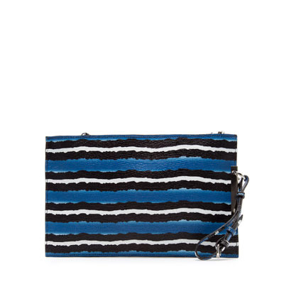 Printed Fabric Clutch - predominant colour: royal blue; occasions: casual, evening, occasion; type of pattern: standard; style: clutch; length: hand carry; size: standard; material: leather; pattern: striped, horizontal stripes, patterned/print; trends: striking stripes; finish: plain; season: s/s 2013
