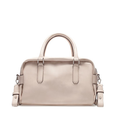 Soft Bowling Bag - predominant colour: stone; occasions: casual, work; style: bowling; length: handle; size: standard; material: faux leather; pattern: plain; finish: plain; season: s/s 2013
